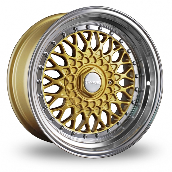 Picture of 15 Inch Dare DR-RS Gold Chrome Rivets Alloy Wheels