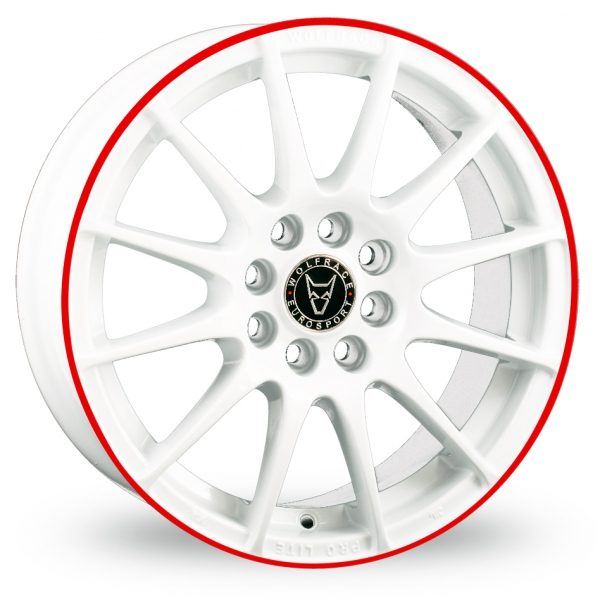 "Picture of 17"" Wolfrace Alloy Wheels, Pro Lite White & Red"