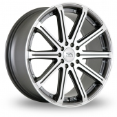 Image for BK_Racing 509 Gun_Metal_Polished Alloy Wheels