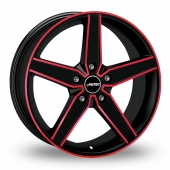 Autec Delano Black Red Alloy Wheels