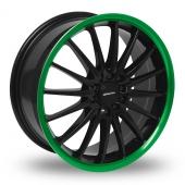 Team Dynamics Jet Black Green Alloy Wheels