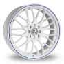 17 Inch Calibre Motion 2 White Blue Alloy Wheels