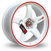 Samurai D1-R White Red Alloy Wheels