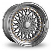 Dare DR-RS Silver Gold Rivets Alloy Wheels