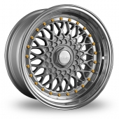Image for Dare DR-RS_Wider_Rear Silver_Gold_Rivets Alloy Wheels