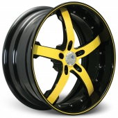 COR Wheels Concord Signature Series Black Yellow Alloy Wheels